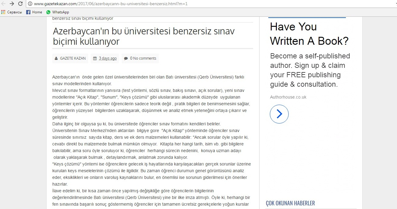 Foreign media mentioned about exam's system of Western University